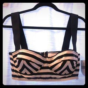 Kate Spade b&w stripe swimsuit top